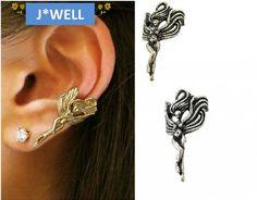 Silver Fly Angel Fairytale Vintage Ear Wrap Cuff Clip Stud Earrings