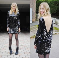 gorgeous girl. amazing outfit. sequins and biker boots and tights