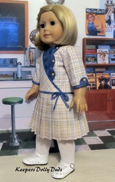 """1930s Pleated Frock made to fit 18"""" American Girl Kit"""