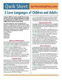 5 Love Languages of Children (and Adults)