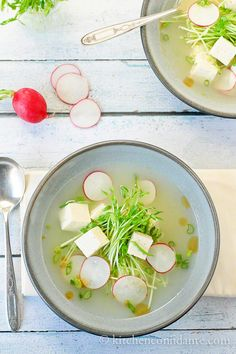 Tofu Soup with Pea Shoots and Radish | Kitchen Confidante