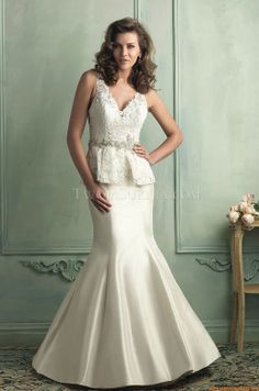 Allure 9101. Peplum lace dress. Exclusively at Encore Bridal in Fort Collins, Colorado
