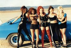 "Spice Girls on the set of the ""Say You'll Be There"" Music Video Look at Victoria Beckham, she wore Catwoman costume - the movement of Emma Bunton, Themed Halloween Costumes, Girl Costumes, Spice Girls Outfits, Girl Outfits, Mtv, Victoria Beckham, 90s Fashion, Girl Fashion"