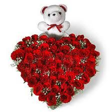 My Heart  (Gift combos)  30 Pure Red Roses Heart shape arrangement with 10 inches cute Teddy.