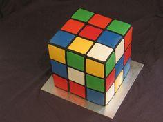 80's theme Rubik's Cube cake