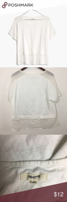 Madewell Gauze Panel Tee With STAINS. Photo #4 stain in bottom front. Photo #5 stain in bottom back gauze part. No holes. Madewell Tops Tees - Short Sleeve