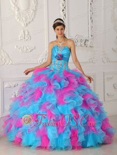 Sweet Multi-color Quinceanera Dress Strapless Organza Appliques and Hand Flower Ball Gown  http://www.fashionos.com  Color Shock! The beauty of this multi-color strapless dress is that it decorated with stunning embroidery, the bust part looks like open shell,and an inventive flower ornament the middle of the bodice, it makes your bust plump. Lightful pink and blue color flow into the dress makes you lively!