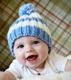 Baby Hat Knit Rib Stripes Light Blue and White by OurCozyCottage, $14.99
