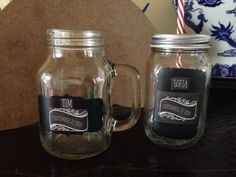 Mason jars for bride and groom -