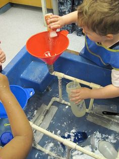 sensory table- fountains and leaky pipes