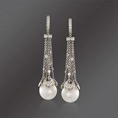 Mikimoto 13mm A+ South Sea Pearl and 1.04 ct. t.w. Diamond Waterfall Earrings in 18kt White Gold