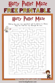 Harry Potter Maze - Free Printable Kids Activity Sheet, DIY and Crafts, Free printable Harry Potter Maze kids activity sheet. Also print out the matching crossword puzzle and HP characters word search. Cadeau Harry Potter, Harry Potter Bricolage, Harry Potter Thema, Anniversaire Harry Potter, Harry Potter Activities, Harry Potter Party Games, Harry Potter Classroom, Harry Potter Printables, Activity Sheets For Kids