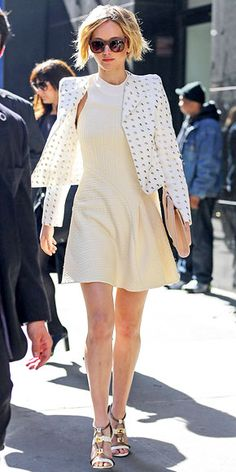 A strappy wedge sandal in tan makes a perfect soft finish for Jennifer Lawrence.