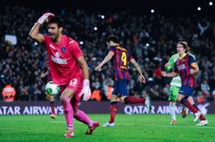 Cesc Fabregas of FC Barcelona celebrates after scoring his team's second goal from the penalty spot during the Copa del Rey round of 16 first leg match between FC Barcelona and Getafe CF at Camp Nou on January 8, 2014 in Barcelona, Catalonia.