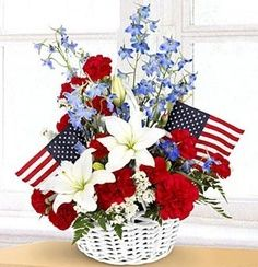 Flower Arrangements for Veterans Day | Floral Arrangement for Memorial Day, Fourth of July, or Veteran's Day