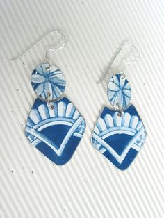 Blue Delft Tin EarringsRecycle Tin Dangles by eaststreettins, $26.00