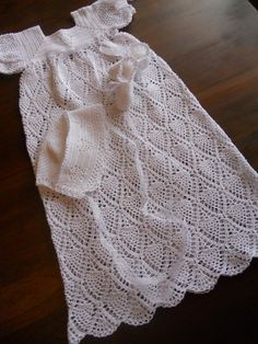 Heirloom Baptism Christening Blessing Gown with Bonnet and Booties Hand Crochet with White Cotton No 10 Thread