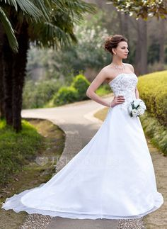 A-Line/Princess Strapless Chapel Train Organza Satin Wedding Dress With Embroidery Beading Sequins (002000390) - JJsHouse