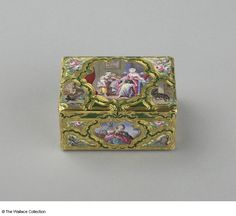 Snuff box Possibly Jean Ducrollay (c. 1708 - after 1776), Goldsmith. Le Sueur, Enameller, (one panel) Paris, France, 1754 - 1755 Gold and enamel, engraved