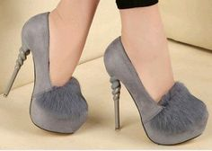 Spring Faux Fur High Heel Platform Shoes Women Pumps Suede Thin Heels Zapatos Mujer