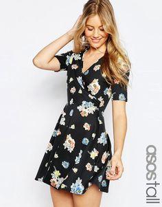 ASOS Tall | ASOS TALL Wrap Skater Dress In Floral Print at ASOS