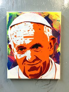 Pope Francis  Ready to Hang Art on Stretched by PlanetGiggles