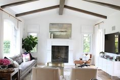 Before & After: A San Clemente Tuscan Tract House If we bought our current rent house, this is what I'd do to the living room. // Before & After: A San Clemente Tuscan Tract House My Living Room, Home And Living, Living Room Decor, Living Spaces, Dining Room, Wooden Beams Ceiling, Wood Beams, Interior Design Courses, Mediterranean Home Decor