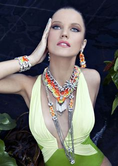 LK Jewelry handwoven neon jewelry. huge neon statement pieces are big right now.