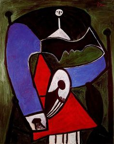 Woman sitting in an armchair by Pablo Picasso Size: 100.5x81 cm Medium: oil on canvas