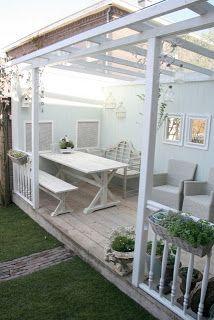 24 Homes: Creating a porch/ Een veranda maken Pergola Lighting, Outdoor Pergola, Outdoor Rooms, Backyard Patio, Outdoor Living, Porch Garden, Backyard Furniture, Garden Buildings, Back Patio
