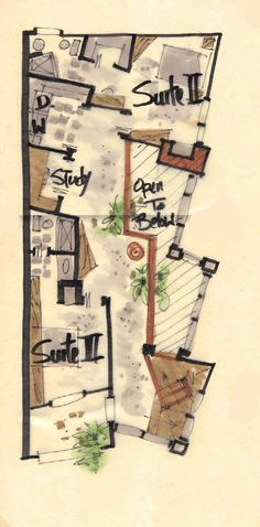 Frame original architecture or renovation plans in the home, with all original sketches and reworkings