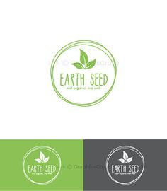 Simple Organic Logo Leaves Logo Design Natural Logo Green Logo OOAK Logo