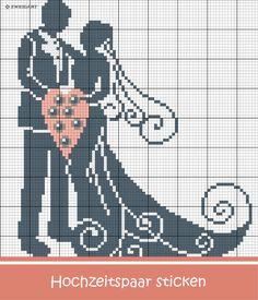 Romantisches Hochzeitspaar in Grau-Rosa sticken #Sticken #Kreuzstich / #Liebe / #Hochzeit; #Embroidery #Crossstitch / #love / #wedding / #ZWEIGART