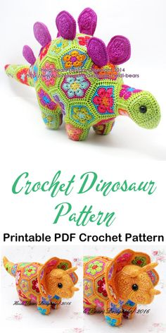 After a dinosaur lover in your family. Lots of cute dinosaur crochet patterns to choose from. Made some adorable dinosaur toys. Crochet Dragon, Crochet Bunny, Cute Crochet, Crochet Crafts, Crochet Projects, Crochet Dinosaur Patterns, Crochet Patterns Amigurumi, Crochet Dolls, African Flower Crochet Animals
