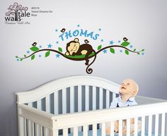 Items similar to Boy Monkey wall decal with stars tree branch with name,birds for nursery, kids room. on Etsy Baby Boy Rooms, Baby Boy Nurseries, Baby Cribs, Monkey Room, Monkey Nursery, Baby Room Decor, Nursery Room, Nursery Wall Decals Boy, Nursery Ideas