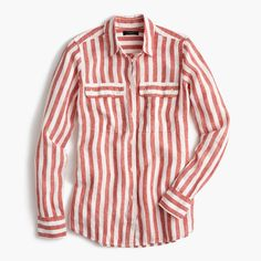 Button-up shirt in striped cotton-linen