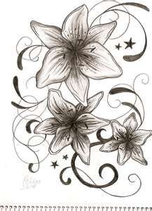 I like this one,.need.another.lilly needs some color.and would.be worked in with my butterfly tattoo on back.