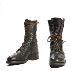 Vintage Lacer Boot by Texas Boot Black Steel Toe Combat Boot Style... ($120) ❤ liked on Polyvore featuring men's fashion, men's shoes, men's boots, shoes, boots, mens black shoes, mens boots, mens narrow boots, mens american flag boots and mens combat boots