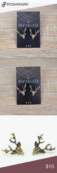 Deer Antler Earrings 1 pair Retro, bronze colored deer antler earrings New in package REVITALIZED Jewelry Earrings