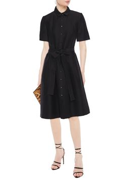 Black Belted cotton and silk-blend twill shirt dress   Sale up to 70% off   THE OUTNET   CAROLINA HERRERA   THE OUTNET Coat Dress, Jacket Dress, Shirt Dress, Popular Dresses, Dresses For Sale, Dress Sale, Ladies Day Dresses, Beachwear Fashion, Twill Shirt