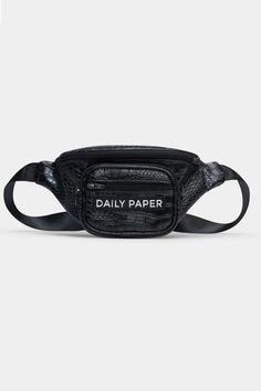 DAILY PAPER Black Crocodile Bumbag Waist Belt - SHOP NOW at SEASON 7 – Season 7 Paper Logo, Daily Papers, Belt Shop, Waist Pack, Product Label, Season 7, Brand It, Hand Warmers, Crocodile