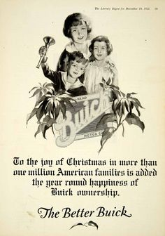 1925 Ad Vintage Buick Automobile Motor Car Family Mother Mom Children Christmas