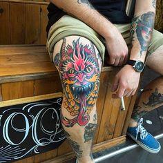 Tattoo by Julian Frogon. julianfrogon blessedtattoo neotraditional demon kneecaptattoo kneecap demon demonhead
