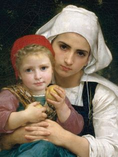 """""""Breton Brother and Sister"""" (detail), 1871, William Adolphe Bouguereau."""