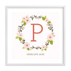 """""""Anemone Monogram"""" - Nursery Custom Art Print by Lawren Ussery in beautiful frame options and a variety of sizes."""