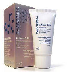 Retises crema antiarrugas regeneradora 0.25: Tratamiento antiarrugas. Crema que hidrata y regenera la piel mejorando la apariencia y elasticidad perdidas con el paso de los años. Fórmula avanzada que integra el poder del retinol puro (vitamina A) con la vitamina C.