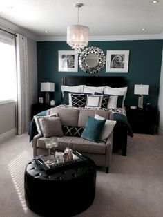 30 Creative Master Bedroom Makeover Ideas - Page 11 of 32 Black Master Bedroom, Romantic Master Bedroom, Master Bedroom Makeover, Stylish Bedroom, Beautiful Bedrooms, Modern Bedroom, Dark Teal Bedroom, Bedroom Decor Master For Couples, Gothic Bedroom