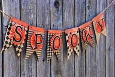 haloween banner kits   Black: Spooky Halloween Banner - Happy Halloween - Halloween - Vintage ...