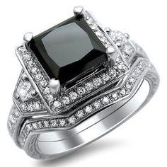 1.90CT Princess Cut Created Black Diamond Rhodium Plated Engagement ring bridal set