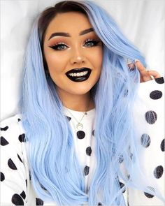 Blue Wigs Lace Hair Lace Frontal Wigs Wavy Wigs Vella Vella Wigs 613 W – eggplantral Kawaii Hairstyles, Cute Hairstyles, Lace Front Wigs, Lace Wigs, Blue Wig, Maquillage Halloween, Lace Hair, Wig Styles, Cool Hair Color
